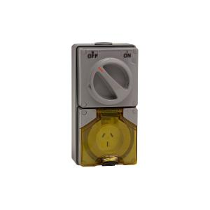 OUTLET SWITCHED IP66 3PIN 15A 250V GREY