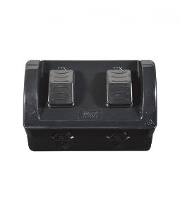 DOUBLE OUTDOOR POWER POINT IP54 10A BLAC