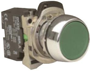 PUSHBUTTON METAL GREEN 1N/O COMPLETE