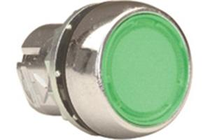 PUSHBUTTON MTL ILL GREEN FLUSH MOMENTARY