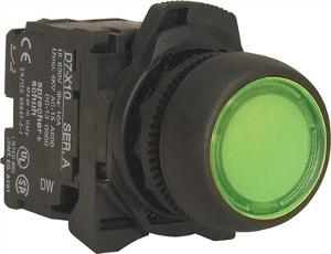 PUSHBUTTON 22.5MM PLASTIC FLUSH ILLUM GR