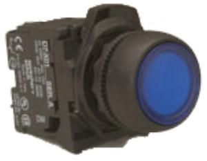 PUSHBUTTON 22.5MM PLASTIC FLUSH ILLUM BL
