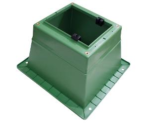 PILLAR BOX BASE LARGE OPENING GREEN