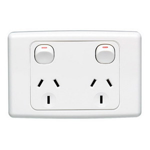 GPO SOCKET SWT TWIN 10A 250V WHITE