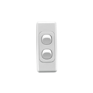 SWITCH 2GANG ARCHITRAVE 10A WHITE