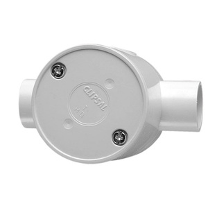 JUNCTION BOX ROUND DEEP 2WAY 25MM GRY