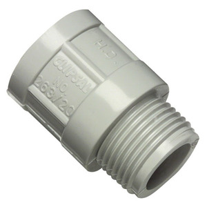 ADAPTOR CONDUIT PLAIN/SCREW 25MM GRY