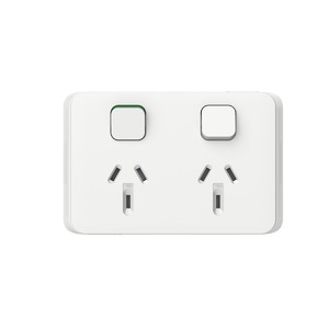 SOCKET SW HORIZ TWIN 10A 250V