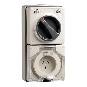 OUTLET SWITCHED IP66 3PIN 10A 250V GREY