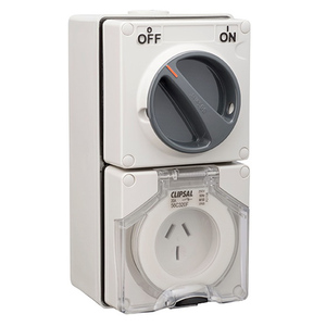 OUTLET SWIT IP66 3 FLAT PIN 20A 250V GRY