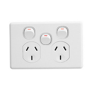 GPO DOUBLE WITH EXTRA SWITCH 10A WHITE