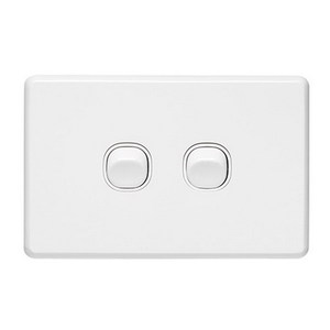SWITCH 2GANG HORIZONTAL 10A WHITE