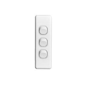 SWITCH 3GANG ARCHITRAVE 10A WHITE