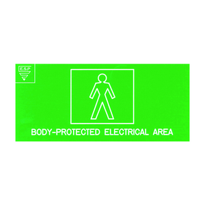 SIGN BODY PROTECTED WHITE ON GREEN