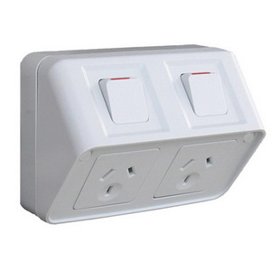 SOCKET IP53 TWIN HORZ 10A SHALLOW